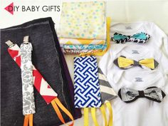 Easy DIY baby gifts - The Em Dash. My baby shower present included five DIY baby gifts, which included pacifier clips, nursing cover and even baby bowties. Post includes pics and tutorials.