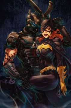 The Arkham Knight (SPOILER *Jason Todd*) with Batgirl (Barbara Gordon). Why am I jealous of batgirl? Comic Book Characters, Comic Character, Comic Books Art, Comic Art, Book Art, Batgirl And Robin, Batman And Batgirl, Batman 1966, Batman Art