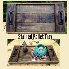 Stained Pallet Tray. (Karen's Kreations Design)