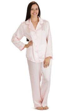 ecb118e577 Womens Classically Styled 100% Imported Silk Long Pajama set   Loungewear -  PNK M Best