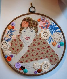 Applique portrait of Mum in embroidery hoop