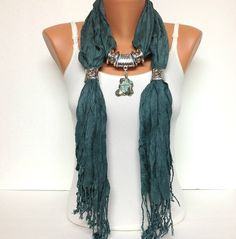 Teal jewelry scarf