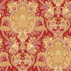 The Wallpaper Company 56 sq. ft. Small Paisley Damask Red/Ochre/Pink Wallpaper-WC1287309 at The Home Depot