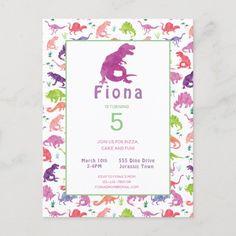 Girls Dinosaur Birthday Party Postcard Invitation