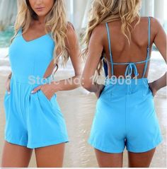 2014 New Fashion Novelty Backless Sexy Short playsuit Jumpsuits bodysuit Rompers women summer clothing US $16.99