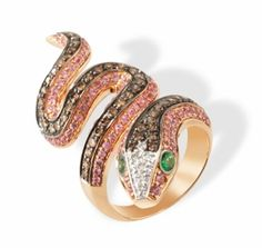 Champagne Diamond Snake Ring in 18k Rose Gold with Pink Sapphires