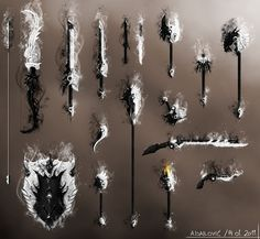 Daynight Weapons Set - Guild Wars 2 Fan Art by SkavenZverov on DeviantArt Ninja Weapons, Anime Weapons, Fantasy Sword, Fantasy Weapons, Beautiful Fantasy Art, Dark Fantasy Art, Different Drawing Styles, Steampunk Weapons, Larp Armor