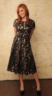 """""""Renee"""" Modest Dress in Black Lace"""