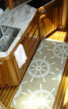 Everything Coastal....Wow, our new nautical runners look great on our customer's yacht! #everythingcoastal #nauticalrugs