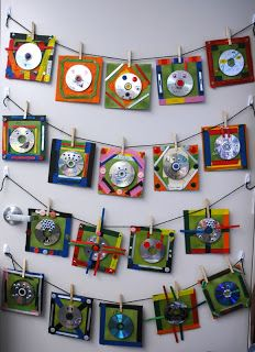 CD face. Recycled CD, tape, glue, googly eyes, Popsicle sticks, markers, buttons.