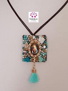 Scapular Necklace, Jesus Scapular Mexican Jewelry #etsy #bijoux #collier #catholicjewelry #religiousjewelry #scapular #mexicanjewelry #tassel #jesusnecklace