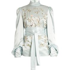 Hillier Bartley Bird-embroidered silk-satin blouse found on Polyvore featuring tops, blouses, light blue, white top, light blue blouse, patterned tops, satin silk blouse and balloon sleeve blouse