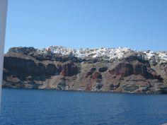 Approaching Red cliffs, Santorini