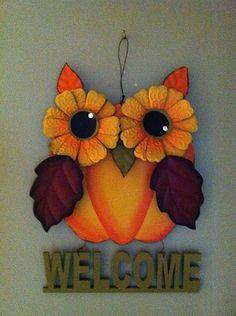 Pumpkin Owl Sign