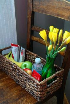 welcome your guests with a gift basket.