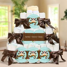 Owl diaper cake for baby shower