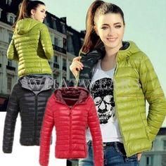 Womens Winter Warm Thin Slim Down Cotton Hooded Coat Jacket Overcoat Parka