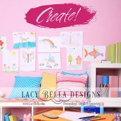 www.lacybella.com   Create vinyl lettering wall decal home craft room decor idea
