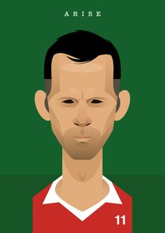 Sir Ryan Joseph Giggs of Manchester United & Wales. by Stanley Chow Retro Football, Football Art, Football Posters, Football Images, Football Pictures, Cristiano Ronaldo, Stanley Chow, Soccer Gear, Soccer Logo