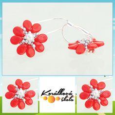 Návody Beaded Earrings, Beaded Jewelry, Beaded Bead, Earring Tutorial, Beading Tutorials, Diy Projects To Try, Beaded Flowers, Bead Weaving, Jewerly