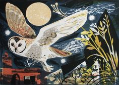 Mark Hearld 'Owl Flight' lithograph, editioned at The Curwen Studio http://www.stjudesprints.co.uk/collections/mark-hearld-prints-1