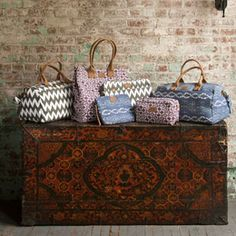 Travel Bags from @John Robshaw Textiles available in duffle bags, luggage tags and more @CottageChicClt !!