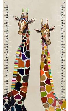 Colorful Giraffe Growth Chart #giraffe #ad