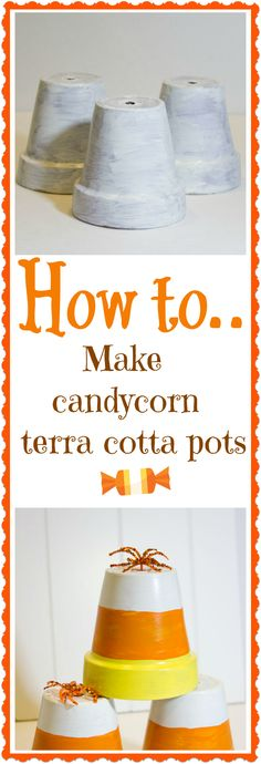 How  to make #Halloween candy corn terra cotta pots /v