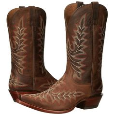 Ariat Brooklyn (Weathered Brown) Cowboy Boots ($210) ❤ liked on Polyvore featuring shoes, boots, knee-high boots, vintage cowboy boots, distressed leather boots, knee high platform boots, leather cowgirl boots and cowgirl boots