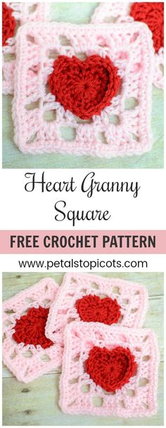 Heart Granny Square Crochet Pattern. Show your love with a pretty heart square ... incorporate it into your next afghan or project! #petalstopicots