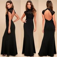Women's Fashion Sexy Sleeveless Long Dress Ladies Elegant Slim Evening Dress Backless Wedding Dress