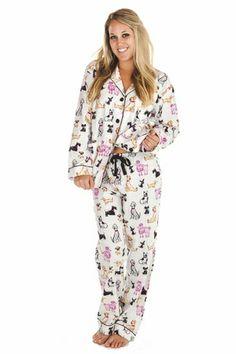 PJ Salvage Dog Day Flannel Pajama Set : Think Her