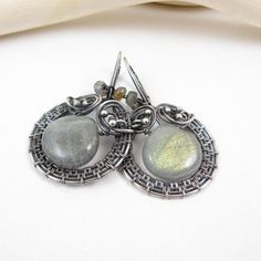 Labradorite wire wrap earring, wire wrapped jewelry, gemstone fine jewelry, labradorite jewelry, sterling silver earring on Etsy, $105.00