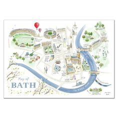 Alice Tait 'Map of Bath' print Size: A3 (297 mm x 420 mm) An individually signed lithographic print
