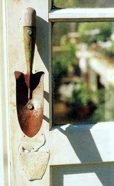 whimsical, vintage, shabby chic door pull, trowel door pull/ handle
