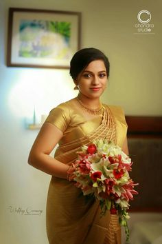 Christian Wedding Sarees, Christian Bride, Christian Weddings, Boquette Wedding, Saree Wedding, Bridal Sarees, Wedding Ideas, Kerala Bride, South Indian Bride