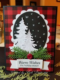 This is my 2018 Christmas Card. I printed the buffalo plaid onto red cardstock. I added glitter to the trees with White Blizzard Nuvo Gli Cricut Christmas Cards, Christmas Cards 2018, Homemade Christmas Cards, Christmas Paper, Xmas Cards, Homemade Cards, Handmade Christmas, Christmas Crafts, Christmas Scrapbook