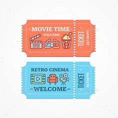 Cinema Tickets Flat Icon Set