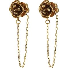 Marc Jacobs Chain Flower Stud Earrings ($81) ❤ liked on Polyvore featuring jewelry, earrings, gold, earrings jewelry, antique gold earrings, chains jewelry, marc jacobs jewellery and gold tone earrings