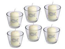 SET: 6x Votivglas 6x Kerzen Fisch Silber
