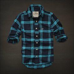 HOLLISTER MENS CASUAL SHIRT FLANNEL PLAID. This would look awesome on the kiddo.