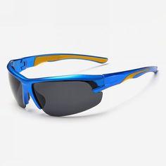 Polarized Semi-Rimless Cycling Sunglasses Blue Wrap Frame Grey Lens