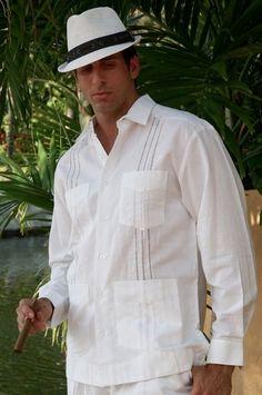 Cuban style: A panama worn with a traditional guayabera shirt
