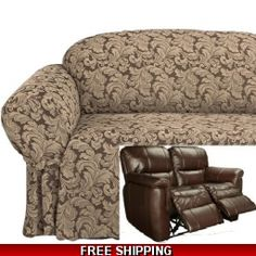 Reclining LOVESEAT Slipcover Damask Chocolate Adapted for Dual Recliner Love seat  sc 1 st  Pinterest & Reclining LOVESEAT Slipcover adapted for Dual Recliner Love seat ... islam-shia.org