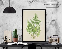 Vintage Botanical Fern Print, Botanical Print, Gift for Her, Fern Print, Leaf
