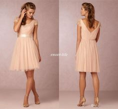 Cheap Blush Pink Short Bridesmaid Dresses Short Sleeve Backless Sash Knee Length Tulle Lace V Neck 2016 Wedding Party Dresses Maid of Honor Online with $70.5/Piece on Sweet-life's Store | DHgate.com