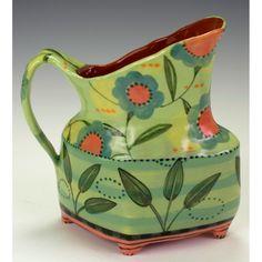 Diamond Shaped Pitcher With Four Feet-Green. Nancy Gardner Ceramics via Etsy.