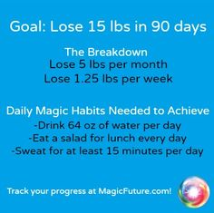 Minimum of 8 cups of water a day, A salad for lunch every day, sweat for at least 15 minutes per day