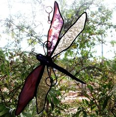 Handmade Stained Glass Dragonfly  sun catcher