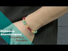 Aprende Cómo Hacer una Pulsera Alambrismo Turquesa y Rondela Roja Rápido y Fácil - YouTube